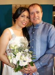 Happily Married Couple Who Met at Christian-Filipina.Com, on Their Wedding Day