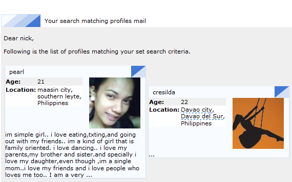 "A snippet from a ""My Matches"" email"