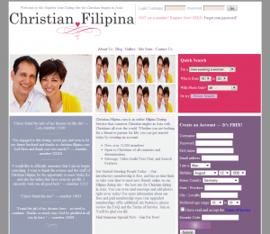 screenshot of new front page for our filipina dating site