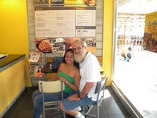 Annelyn and Randall in a cafe in the Philippines