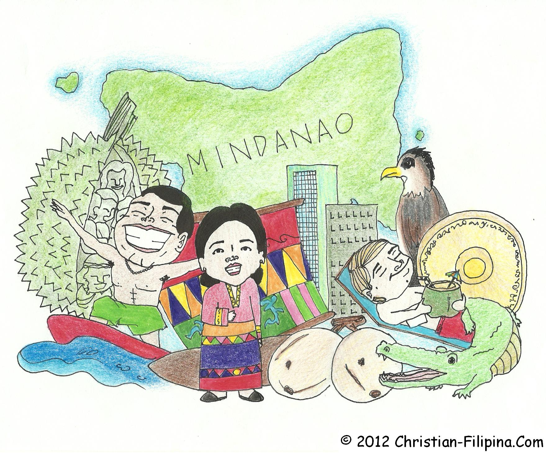 Illustration of Mindanao, Philippines, with Durian, surfing, sinbathing, and other cultural items