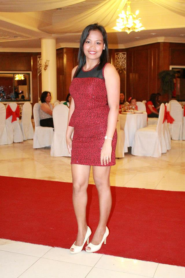 Chris in her red dress in her profile photo she added on Christian Filipina.